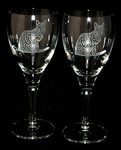 Bengal Cat Design Wine Glass Pair Of Wine Glasses Cat