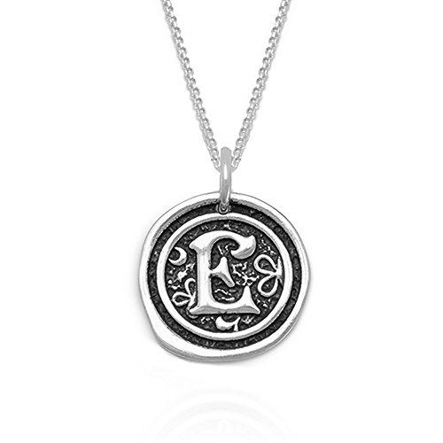 Sterling Silver Initial E Pendant Necklace Oxidized Antique Wax Seal Charm Vintage Style INITIAL A thru Z (E) (Seal Necklace compare prices)