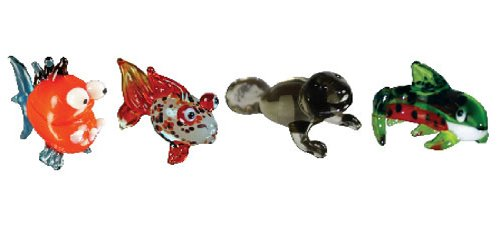 Looking Glass Miniature Collectible - Piranha / Gold Fish / Manatee / Trout (4-Pack)