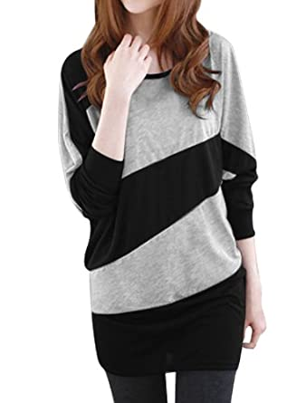 Allegra K Women Color Block Panel Batwing T Shirt Loose Tunic Tops