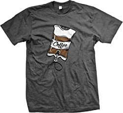 Coffee IV, Intravenous Coffee Drip Men's T-shirt (Char, X-Large)