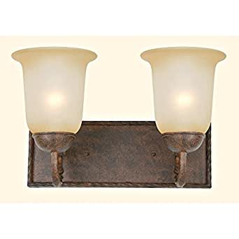 Stained Glass Vanity Light Fixtures : Yosemite Home Decor 93992FGS McKensi Two Light Bath Vanity with Tea Stained Glass Shades in ...