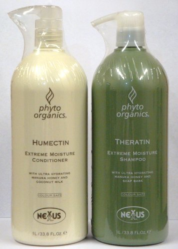 Nexxus Phyto Organics Theratin and Humectin Duo Set Shampoo and Conditioner, 33.8 Oz Pump Bottles