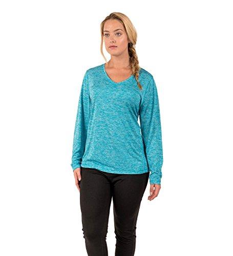 Rbx active women 39 s plus size space dye long sleeve light v for Plus size light blue shirt