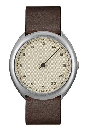 slow O 06 - Schweizer Unisex Einzeigerarmbanduhr analoge 24 Stunden Anzeige silber mit dunkelbraunem Vintagelederband