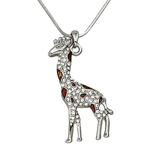 DianaL-Boutique-Silver-Tone-Brown-Enamel-and-Clear-Rhinestone-Giraffe-Charm-Pendant-Necklace-18