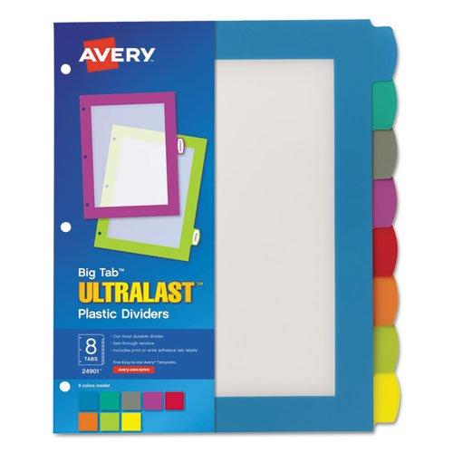 avery big tab ultra last plastic dividers 8 tab set 24901 hardware tools measuring tools sensors. Black Bedroom Furniture Sets. Home Design Ideas