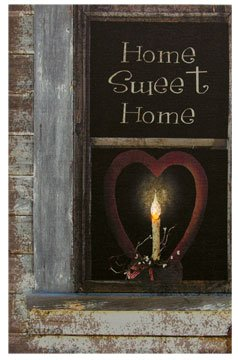 Radiance Led Lighted Canvas Print Home Sweet Home Heart Candle Artwork Country Primitive Wall Decor