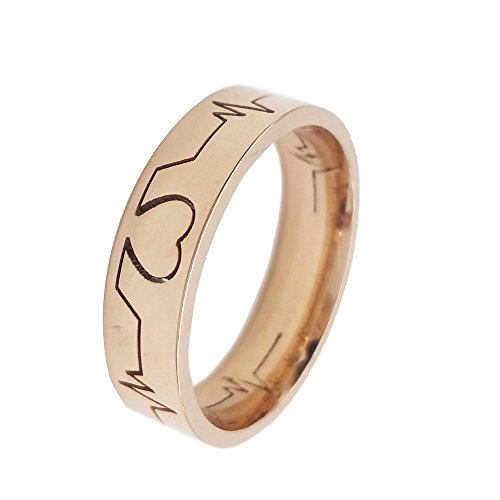 Heartbeat Rings Hollowed Out EKG Rose Gold Filled Titanium Stainless Steel Size 6 (Rose Gold Rings Size 6 compare prices)