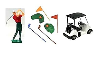 Item#39329B - Golf Cart Golf Man and Golf Club Cake Decoration Cake Topper Kit