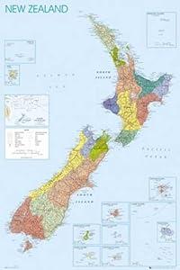 Landkarten - Poster - New Zealand + 1 Packung tesa Powerstrips® - Inhalt 20 Stück