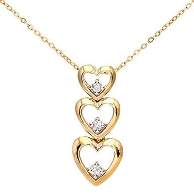 Ariel 9ct Yellow Gold Diamond Triple Heart Pendant + 46cm Trace Chain