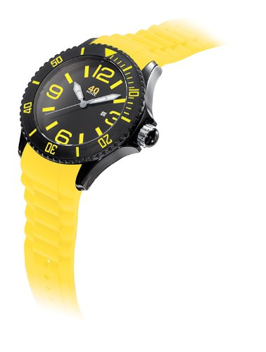 40Nine Men'S 40Nine01/Black/Lemon Extra Large 50Mm Analog Display Japanese Quartz Yellow Watch