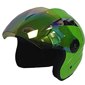 Motorcycle Street Bike Scooter Open Face 3/4 Adult Helmet Green