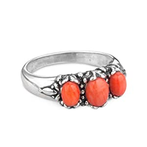 Sterling Silver Orange Coral 3-Stone Ring by Southwest+Spirit