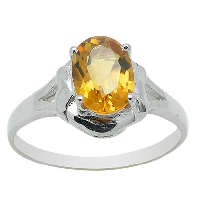 6*4mm New Citrine Natural Gem stone 925 sterling silver ring 056