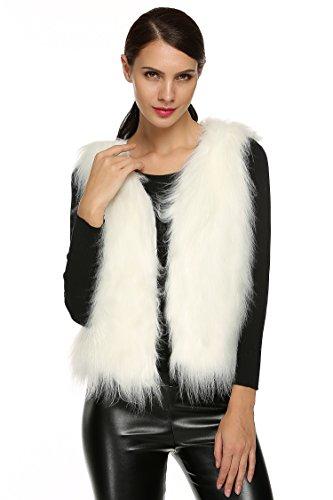 ACEVOG Lady Faux Fur Vest Waistcoat Long Hair Winter Warm Sleeveless Coat Outwear (L, Long Hair White(FBA)) Faux Fur Vest