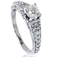 .60CT Vintage Filigree Diamond Engagement Ring 14K White Gold by Pompeii3 Inc.