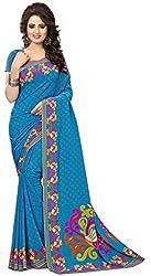 Design Willa Smooth feel Art crepe Sari (DWPC036,Blue)