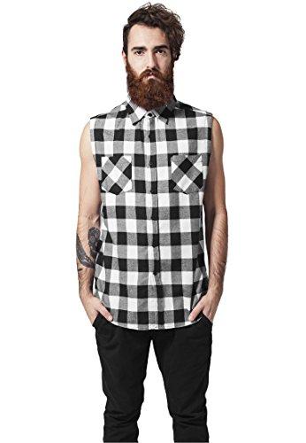 Urban Classics Sleeveless Checked Flanel Shirt Camicia senza maniche nero/bianco M