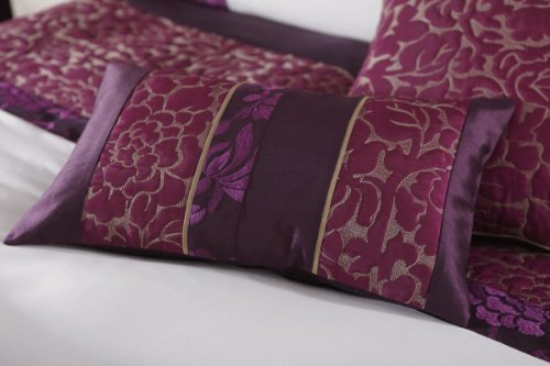 Catherine Lansfield Quilted Damask Cushion Cover 30 x 50 cm, Plum