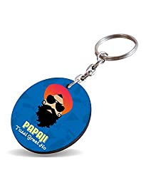 Papa Ji Tussi Great Ho ! With Cute Smile Gifts For Father's Day Heart Circle Wooden Keychain