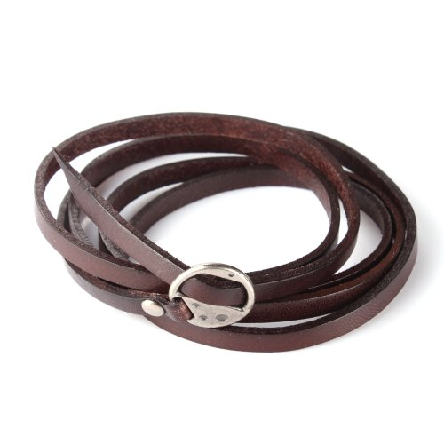 ALIENWOLF Fashion Cool Unisex Long Brown Leather Wrap Wristband Cuff Bracelet Gift (Waltham Mens Watch compare prices)