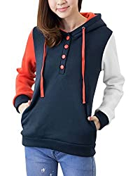 Women Hooded Contrast Color Long Sleeves Half Button Down Sweatshirt