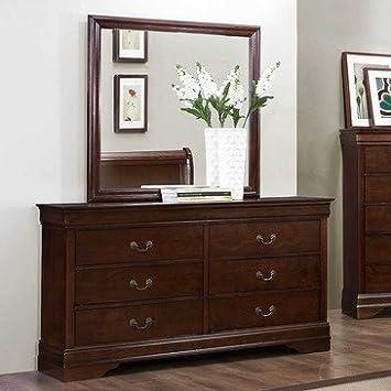 Homelegance Mayville 6 Drawer Dresser w/ Mirror in Brown Cherry