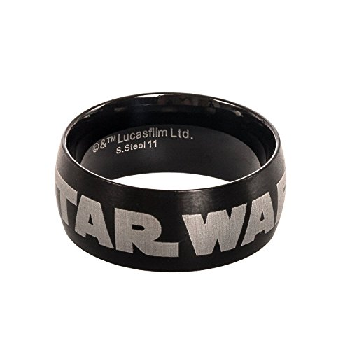 Star Wars Men's Black Stainless Steel Logo Ring (Black, Size 10)