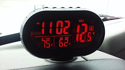 KAMSOL Large LCD Display 12V Multifunctional 3 in 1 Car Digital LED Clock Voltmeter Temperature with Fahrenheit Degree (Car Led Digital Clock compare prices)