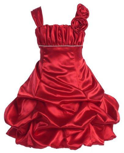 Wonder Girl Tiffany Big Girls' Satin Short Dress 12 Red