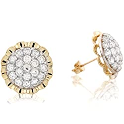 10k Real Gold Rhodium Accented CZ Beautiful Cluster Pin Post Earring