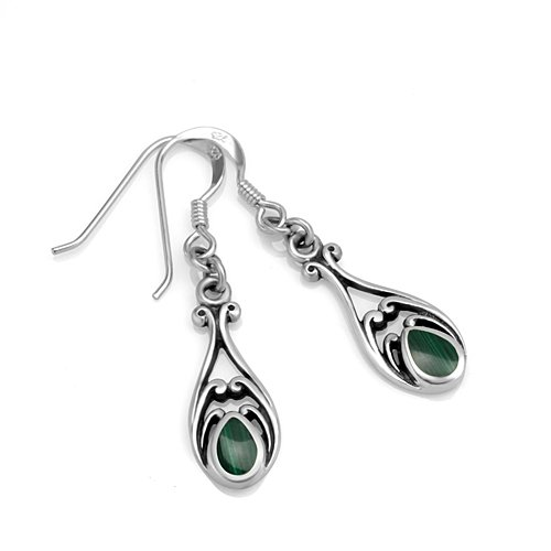925 Sterling Silver Green Stone Filigree Dangle Hook Earrings