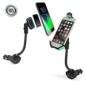 iMustech 2in1 Car Phone Holder with 2 USB Ports,Cigarette Lighter Socket and Magnetic, Cigarette Quick Charge, Phone Holder, Suits for Cellphone GPS for Iphone5s,6, 6 Plus ,6s,6s Plus and Other.