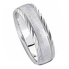 buy 4 Millimeters 10 Karat White Gold Wedding Band Ring With Diamond Cut Borders