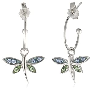 Sterling Silver Blue and Green Crystal Dragonfly Charm Hoop Earrings (0.4