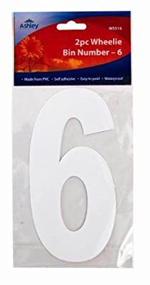 White Self Adhesive Wheelie Bin Numbers 17cm 2/Pk - 6 (WS516) Wheelie Bin / Dust bin / Dustbin Number Stickers