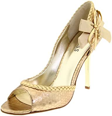 Guess Women's Evelyna2 Open-Toe Pump,Gold Leather,5 M US