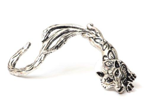 Fox Earring Ear Cuff Metal Wrap Kitsune Silver Tone Coyote Wolf Animal Fashion Jewelry