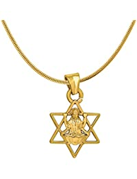 Mahi Exa Collection Laxmi Star Gold Plated Religious God Pendant With Chain For Men & Women PS6012017G