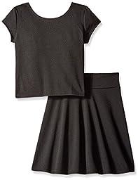 Derek Heart Big Girls Short Sleeve Textured Top and Skater Skirt, Black, Medium