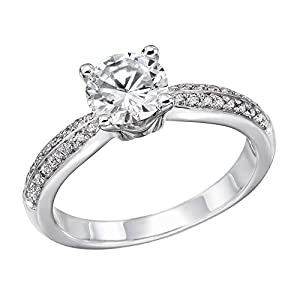 IGI Certified 14k white-gold Round Cut Diamond Engagement Ring (0.77 cttw, J Color, SI1 Clarity) - size 8