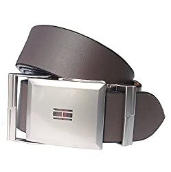 Sunshopping mens brown auto lock buckle leather belt (smooth br rm) (Free Size)