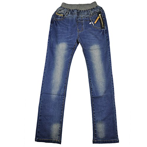 Little Hand Little Boys' Cowboy Unisex Denim Cool Jeans Blue 7-8Y