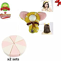 Sealive 16 PCS Triangle Facial Sponge for Flwaness Makeup w/ Korean Cat Ear Soft Headband