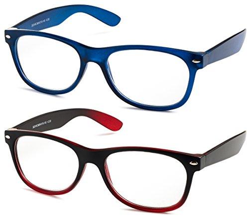 Specs Wayfarer Reading Glasses (Matte Blue and Black/ Red Gradient) +2.00 2-Pack