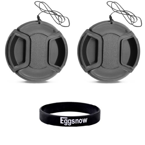 Eggsnow (2-Pack) 55mm Center Pinch Front Lens Cap for SONY Alpha Series A99 A77 A65 A58 A57 A55 A390 A100 DSLR Cameras or other Cameras with a 55MM Filter Thread Lens