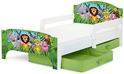 Moderne Lit d'Enfant Toddler motif Jungle Lit pour enfant avec rangement + matelas