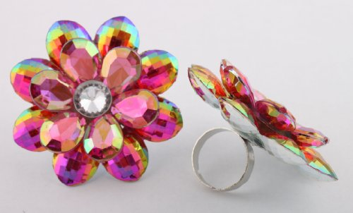 Ladies Fuchsia Double Flower Metal Adjustable Ring with Multicolor Shine